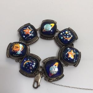 Native Jewelry - Signed Celestial Dichroic Glass  Sterling Bracelet